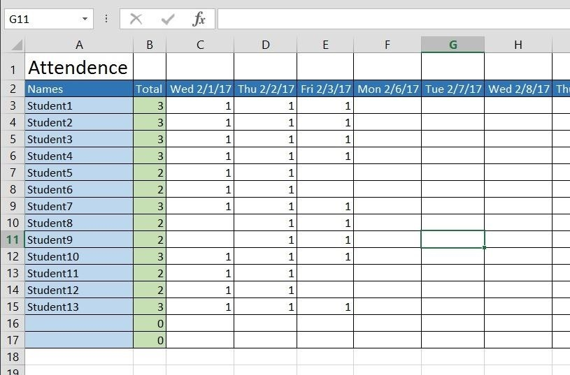 Attendance Sheet Template Daily Attendance Sheet For Excel