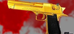 Make chroma key blood and a golden Desert Eagle