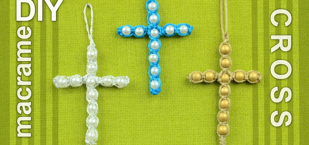 Make a Easy Macrame Cross with Beads