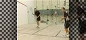 Return a serve in a game of squash