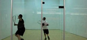 Perform a cross-court shot in raquetball