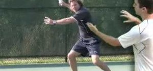 Swing to contact in a tennis forehand