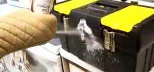 Freeze the lock off a toolbox with compressed air