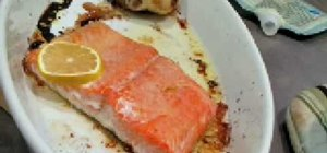 Bake & cook salmon w/olive oil and lemon in the oven