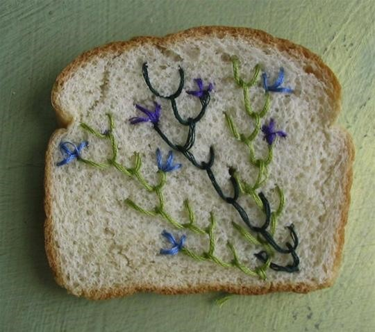 How Do You Embroider Wonder Bread? Very, Very Carefully