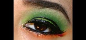 Create a neon green and orange look using Kryolan UV