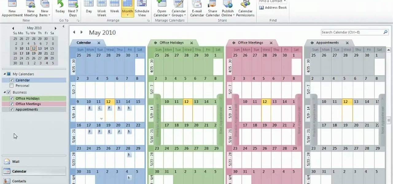 How To Create And Use Multiple Calendars In Microsoft Outlook 2010