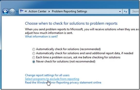 How to Disable Error Reporting in Windows 7