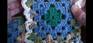 Join crocheted granny squares using the flat braid joining method