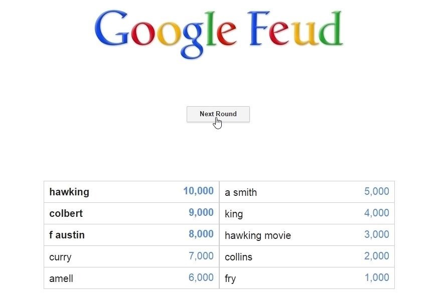 Google Feud: Family Feud-Style Gameplay with Google Search Suggestions as Answers