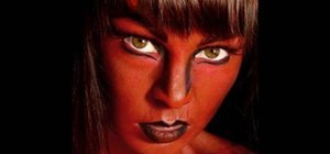 Create a fiery she devil makeup look for Halloween