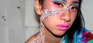Apply candy inspired rainbow makeup