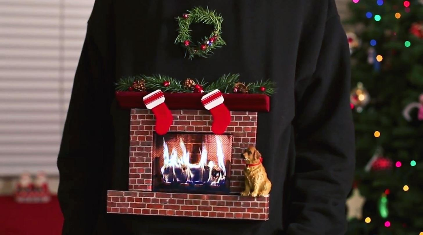 if you dont like the fireplace animation there are a few others you can use instead like a snow globe with your own photo inside or rudolph with a - How To Decorate A Ugly Christmas Sweater