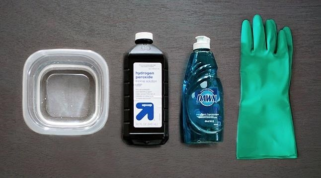Mix One Part Dishwashing Soap To Two Parts Hydrogen Peroxide In A Spray Bottle Saturate The Stained Area Rub In Well Let Sit For As Long As You Can Stand