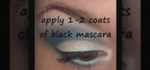 Apply blue and white eyeshadow