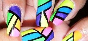 Paint a neon nail polish design