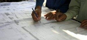 Draw a house like an architect's blueprint