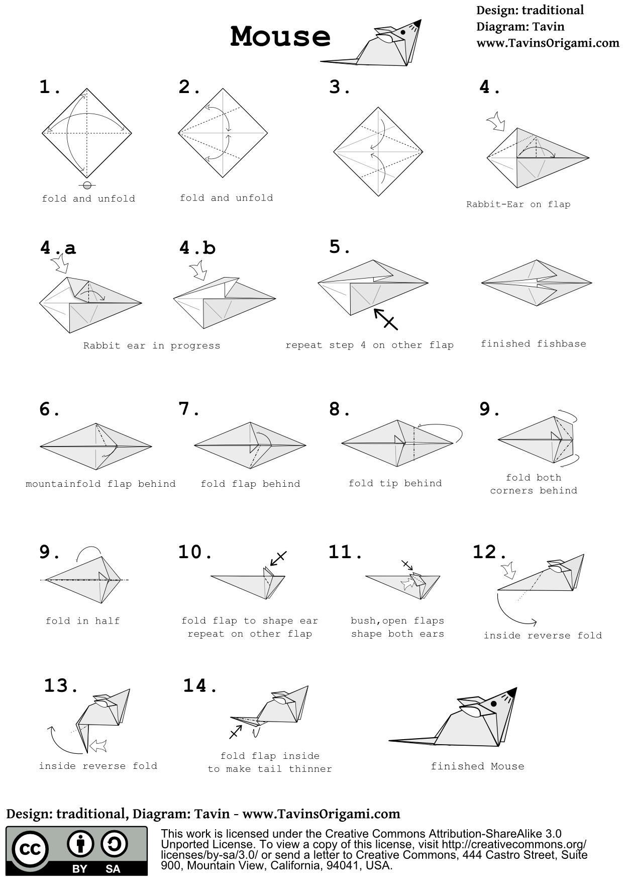 How to Fold a Simple Origami Mouse
