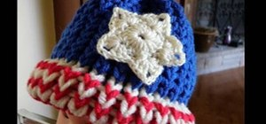 Make a crochet American flag star for right handers