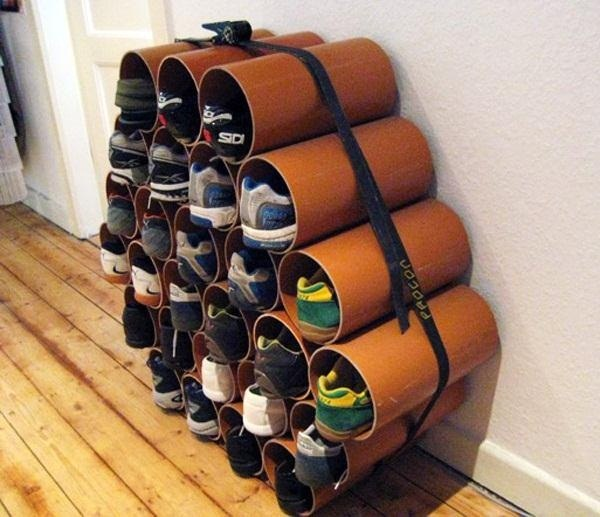 how to build a low cost shoe rack using pvc pipes macgyverisms. Black Bedroom Furniture Sets. Home Design Ideas