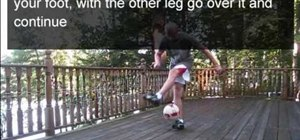 Pull off a reverse toe bounce in freestyle soccer