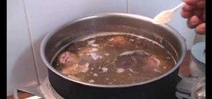 Make Vietnamese beef noodle pho soup (pho bo)