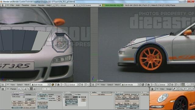 Create a 3D model of a Porsche 911 GT3 RS in Blender 2.5 - Part 7 of 9