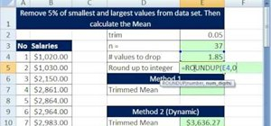 Calculate a trimmed mean in Microsoft Excel