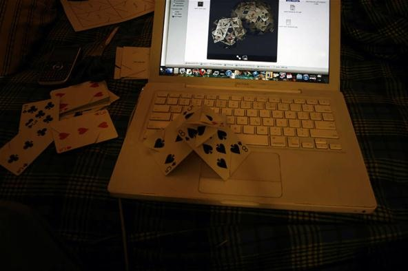 Platonic Solid Made from Rider Back Playing Cards