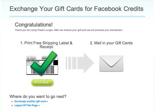 How to Exchange Gift Cards for Facebook Credits