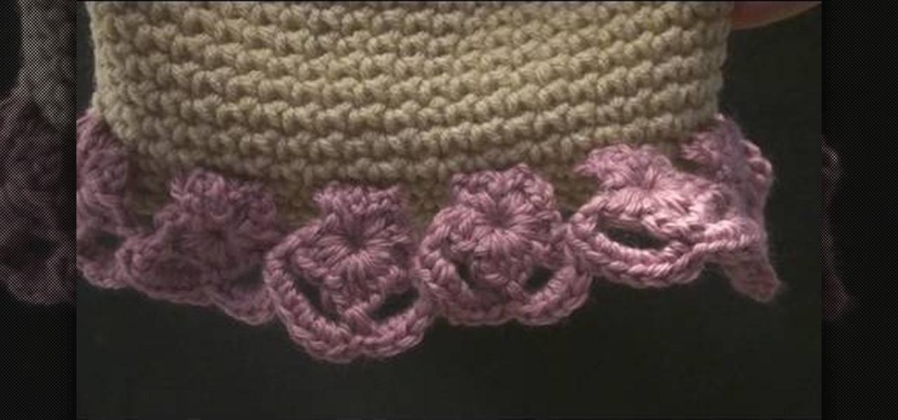 How To Crochet Flower Edging On A Hat Knitting Crochet
