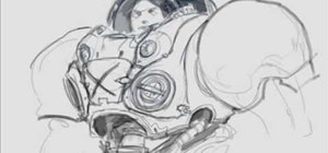 Draw and sketch a female StarCraft marine