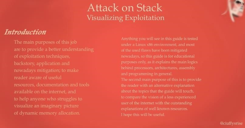 Attack on Stack [Part 1]; Smash the Stack Visualization: Introduction to Memory, Registers and Assembly.