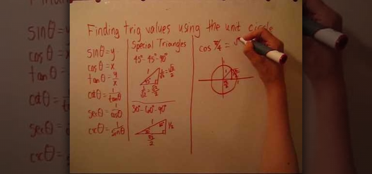 How to Use a unit circle to find trig values « Math