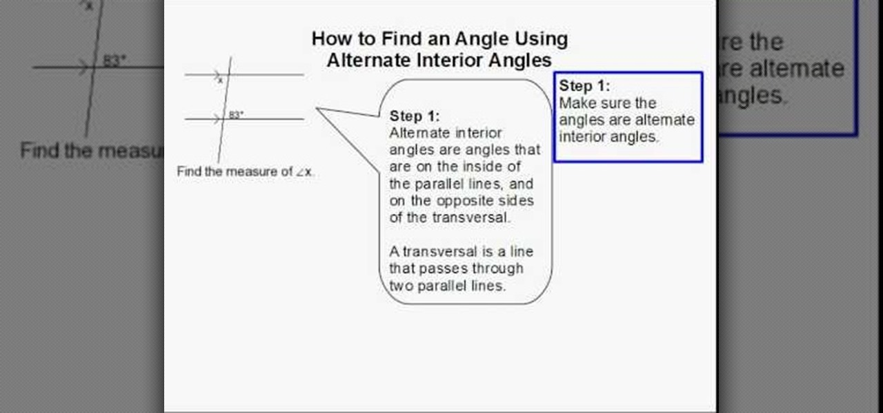 How To Find An Angle Using Alternate Interior Angles Math Wonderhowto