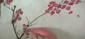 Draw a plum blossom & sparrow - Chinese brush painting