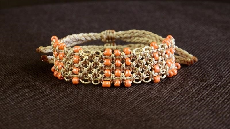 DIY Easy Square Knot Bracelet with Beads