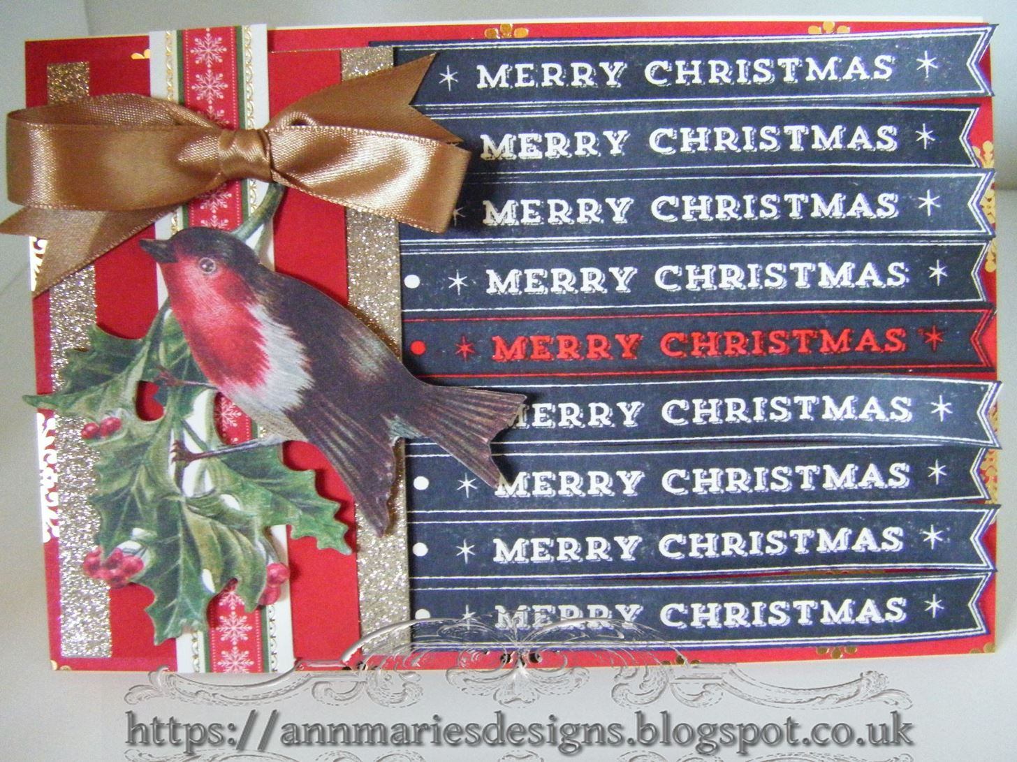 262.Christmas Card Project: Anna Griffin Merry Christmas Stamp Card