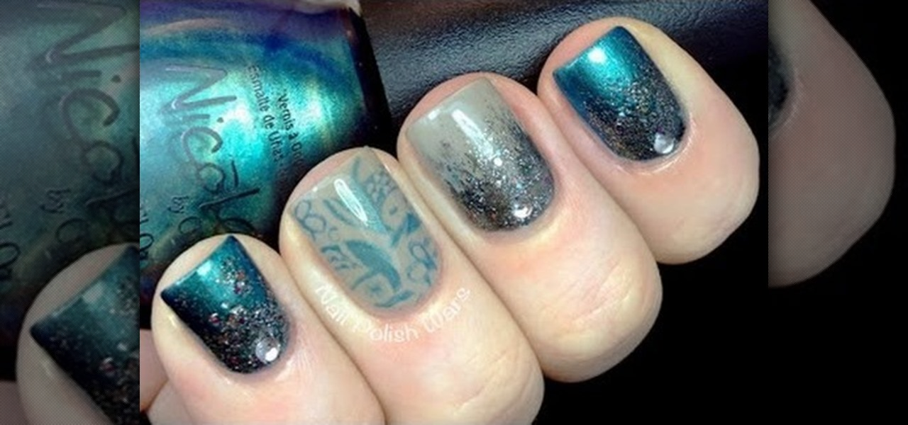 Do Gradient Glitter Nails with Konad Stamping
