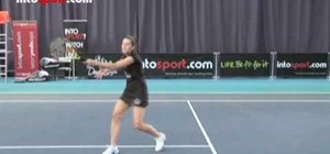 Hit a forehand volley in tennis
