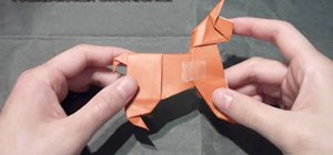 Origami a cute standing dog