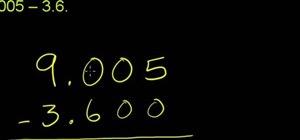 Subtract decimal numbers in basic mathematics
