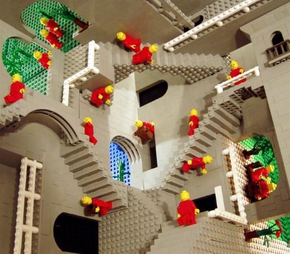 M. C. Escher's Gravity Defying Relativity Illusion Recreated in Minecraft