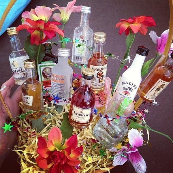 Your sweetheart a bouquet of mini alcohol bottles on valentine s day