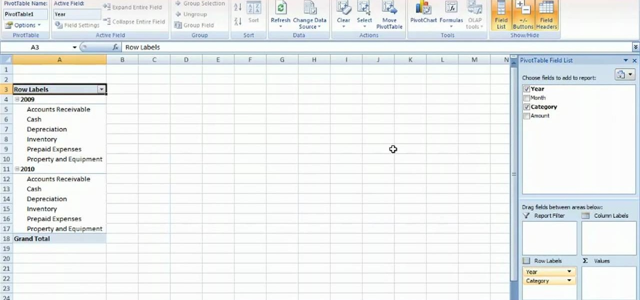 how to summarize budget data via pivottable in ms excel 2010