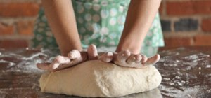 Knead bread dough by hand when baking