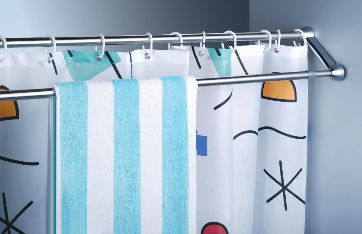 Sexy Shower Curtain Ideas use extra shower curtain rods to increase bathroom storage & more