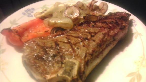 Lunchtime NY Strip w/ grilled onions and bell pepper