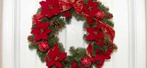 Make a Christmas wreath with poinsettias