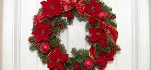 Make a Christmas wreath with poinsettias